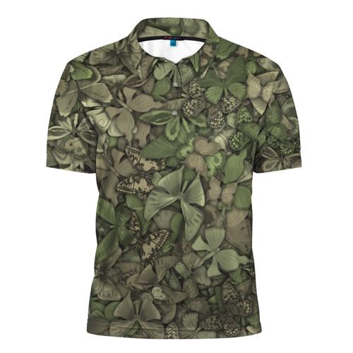 Мужская рубашка поло 3D  Фото 01, Камуфляж с бабочками