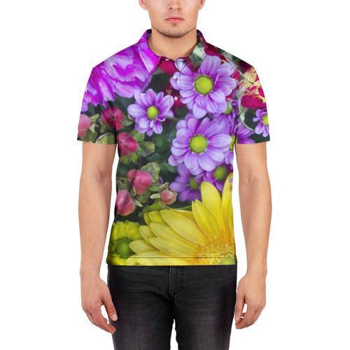 Мужская рубашка поло 3D  Фото 03, Роскошные цветы