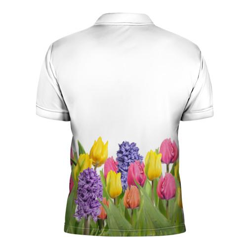 Мужская рубашка поло 3D  Фото 02, Среди тюльпанов