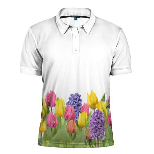 Мужская рубашка поло 3D  Фото 01, Среди тюльпанов