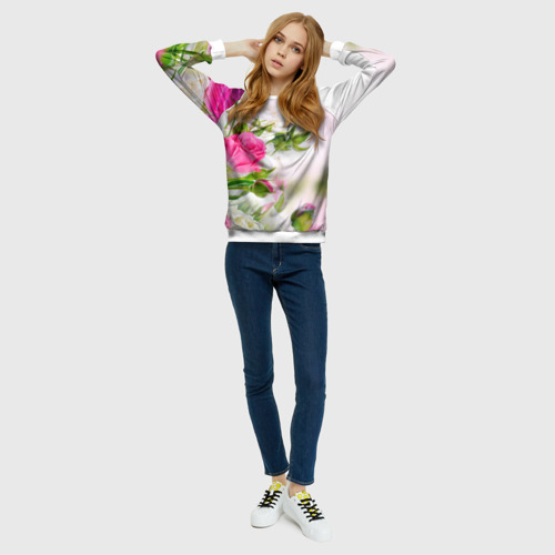 Женский свитшот 3D Алые розы