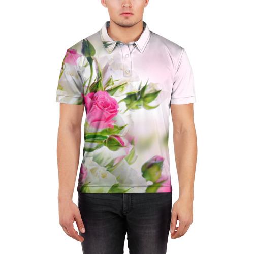 Мужская рубашка поло 3D  Фото 03, Алые розы