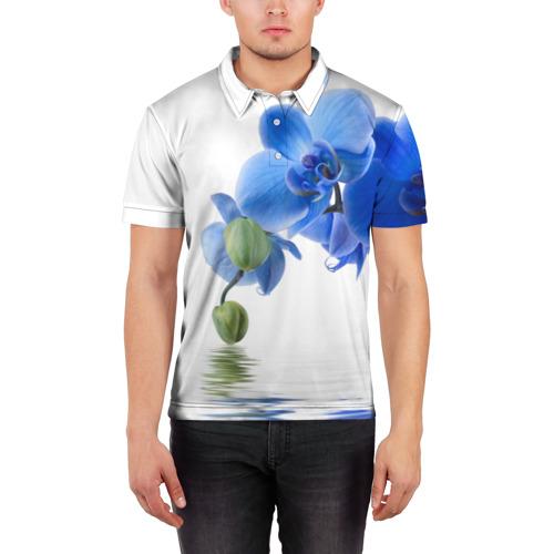 Мужская рубашка поло 3D  Фото 03, Веточка орхидеи
