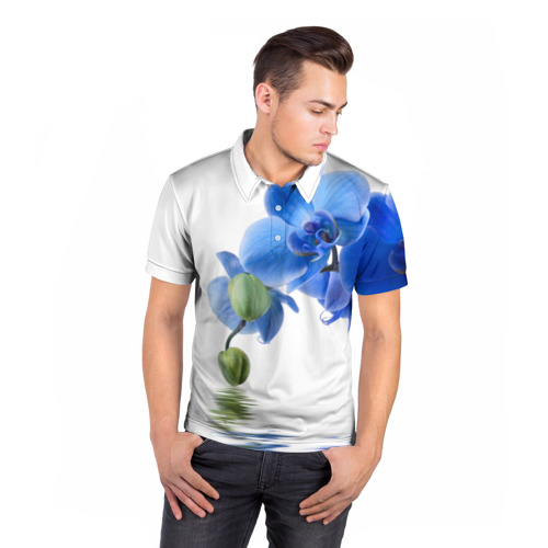 Мужская рубашка поло 3D  Фото 05, Веточка орхидеи