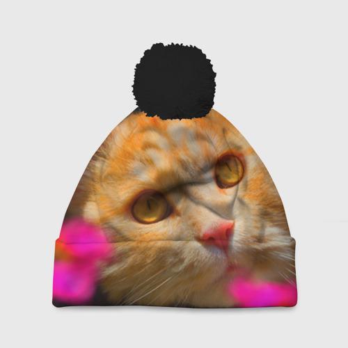 Шапка 3D c помпоном Кошечка