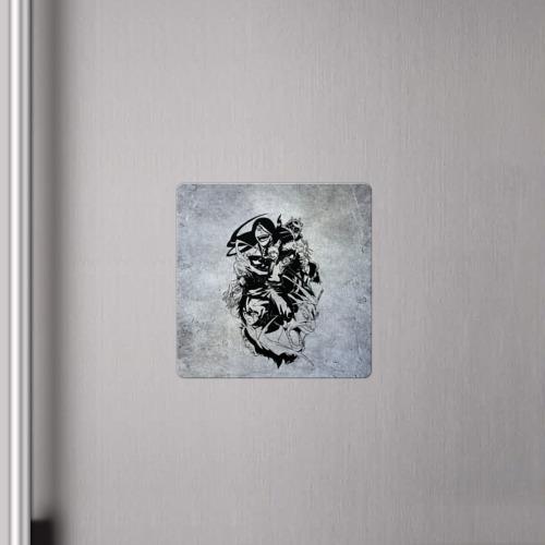 Магнит виниловый Квадрат Блич серый Фото 01