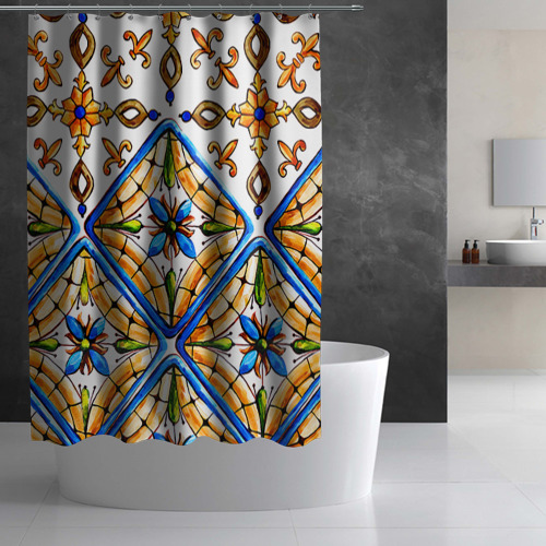 Штора 3D для ванной Майолика 4 Фото 01