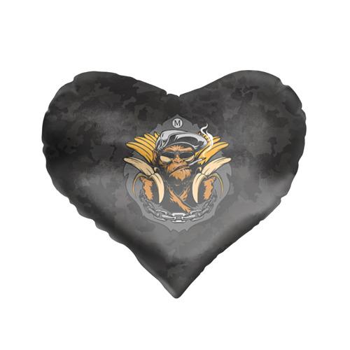 Подушка 3D сердце  Фото 01, Обезьяна с бананом. Камуфляж