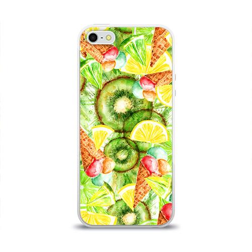 Чехол для Apple iPhone 5/5S силиконовый глянцевый  Фото 01, Веселые фрукты 2