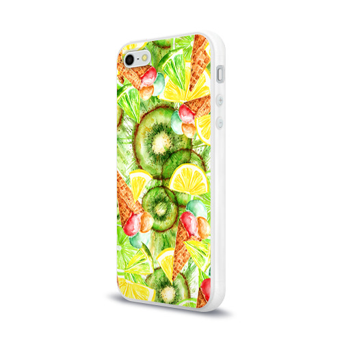Чехол для Apple iPhone 5/5S силиконовый глянцевый  Фото 03, Веселые фрукты 2