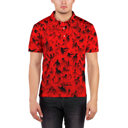 Мужская рубашка поло 3D  Фото 03, Толпа зомби
