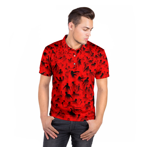 Мужская рубашка поло 3D  Фото 05, Толпа зомби
