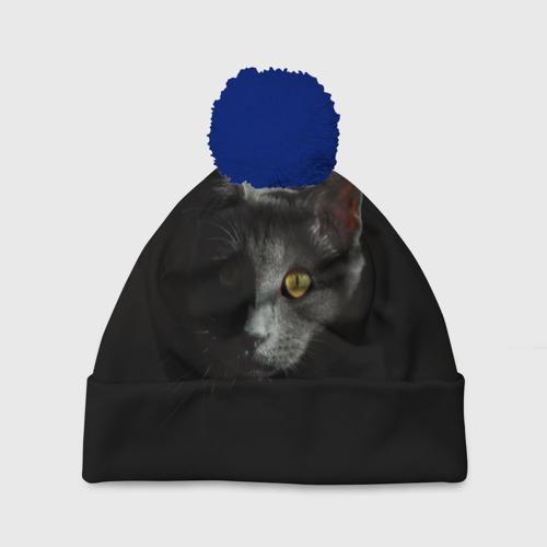 Шапка 3D c помпоном Кошачий взгляд