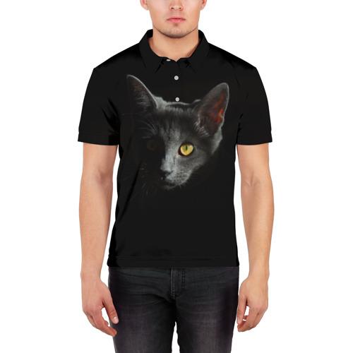 Мужская рубашка поло 3D  Фото 03, Кошачий взгляд