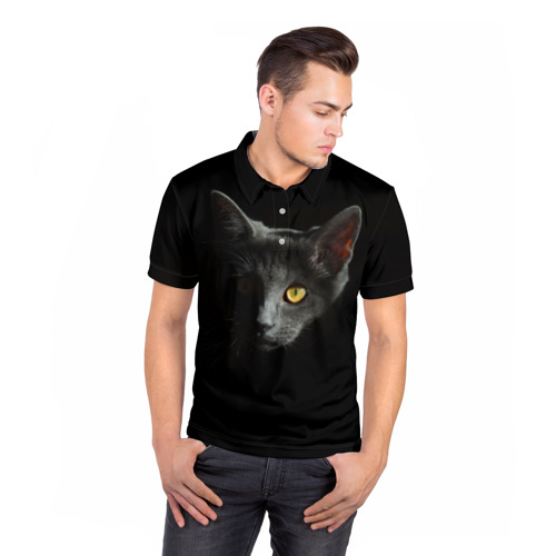 Мужская рубашка поло 3D  Фото 05, Кошачий взгляд