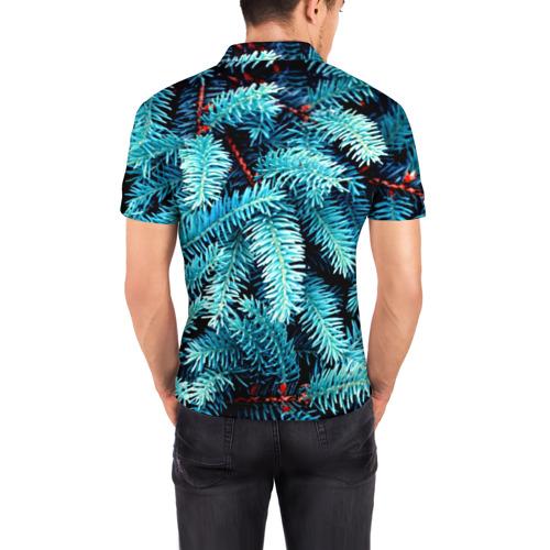 Мужская рубашка поло 3D  Фото 04, Голубая ель