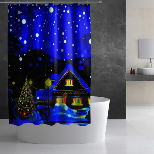 Штора 3D для ванной  Фото 03, Новогодняя ночь