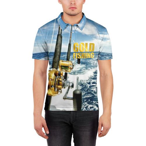 Мужская рубашка поло 3D  Фото 03, Золотая рыбалка