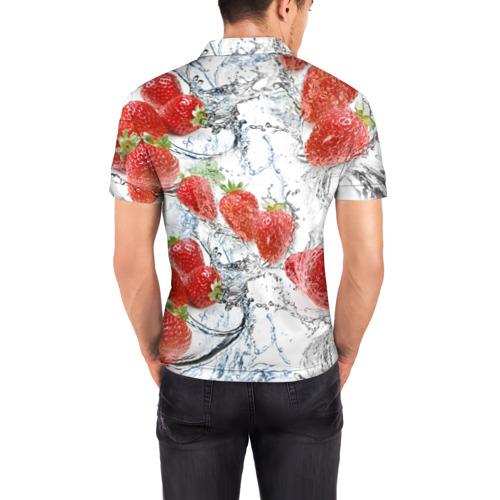 Мужская рубашка поло 3D  Фото 04, Клубника и брызги