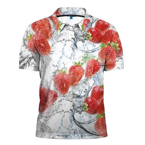 Мужская рубашка поло 3D  Фото 01, Клубника и брызги