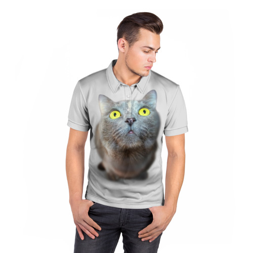 Мужская рубашка поло 3D  Фото 05, Удивлённый кот