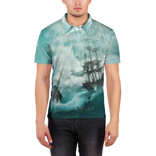 Мужская рубашка поло 3D  Фото 03, Море