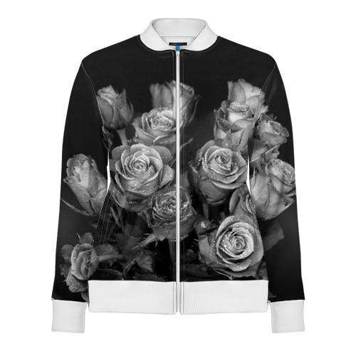 Женская олимпийка 3D Черно-белые розы