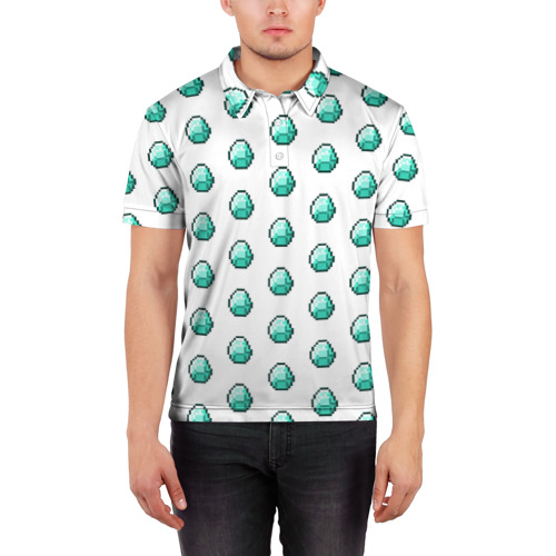 Мужская рубашка поло 3D  Фото 03, Minecraft diamond
