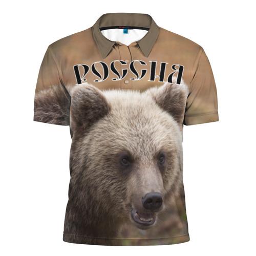 Мужская рубашка поло 3D  Фото 01, Медведь Россия