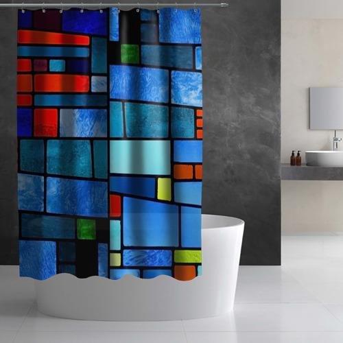 Штора 3D для ванной Мозаичная абстракция Фото 01