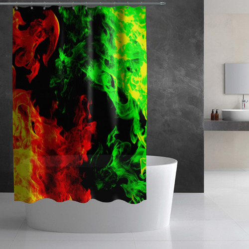 Штора 3D для ванной Огненная битва Фото 01
