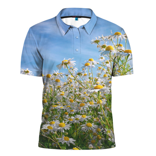 Мужская рубашка поло 3D  Фото 01, Ромашковый рай