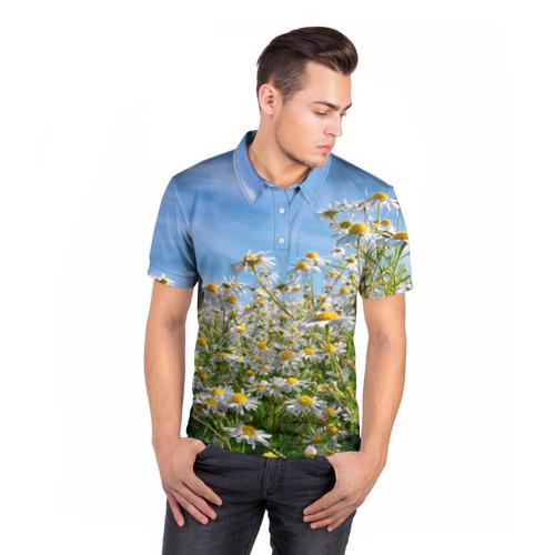 Мужская рубашка поло 3D  Фото 05, Ромашковый рай