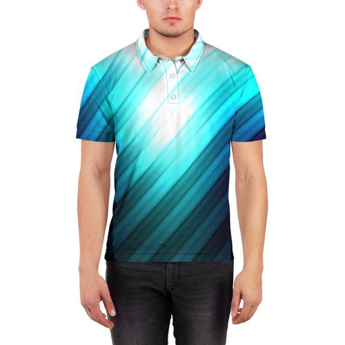 Мужская рубашка поло 3D  Фото 03, В полоску