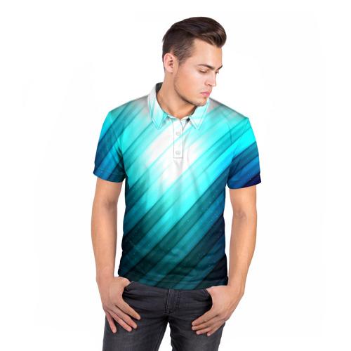 Мужская рубашка поло 3D  Фото 05, В полоску