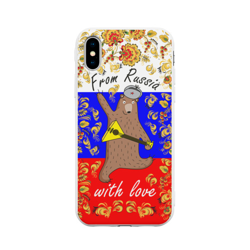 Чехол для Apple iPhone X силиконовый матовый From Russia with love
