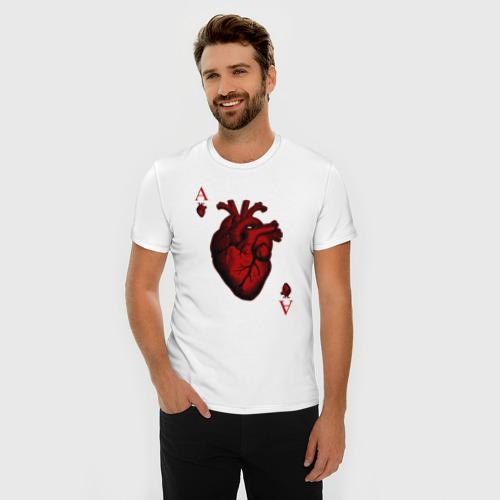 Мужская футболка премиум Червовый Туз Фото 01