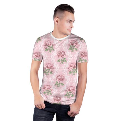 Мужская футболка 3D спортивная  Фото 03, Цветы ретро 7