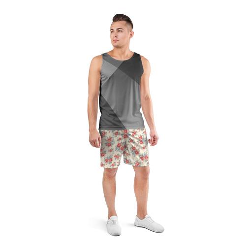 Мужские шорты 3D спортивные  Фото 04, Цветы ретро 6