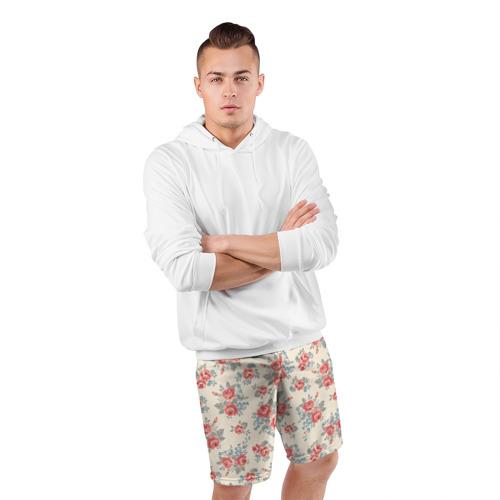 Мужские шорты 3D спортивные  Фото 05, Цветы ретро 6