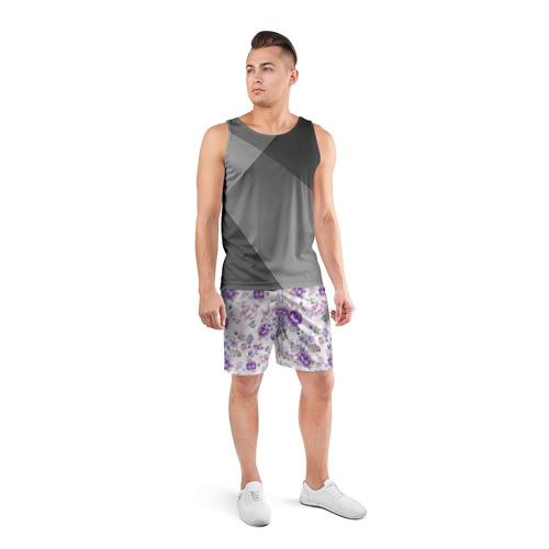 Мужские шорты 3D спортивные  Фото 04, Цветы ретро 2