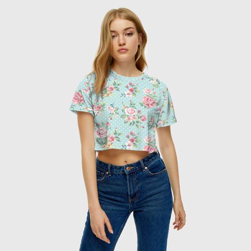 Женская футболка Crop-top 3D Цветы ретро 1 Фото 01