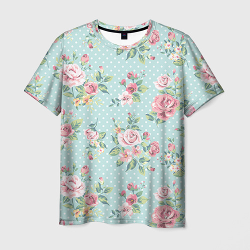 Мужская футболка 3D Цветы ретро 1