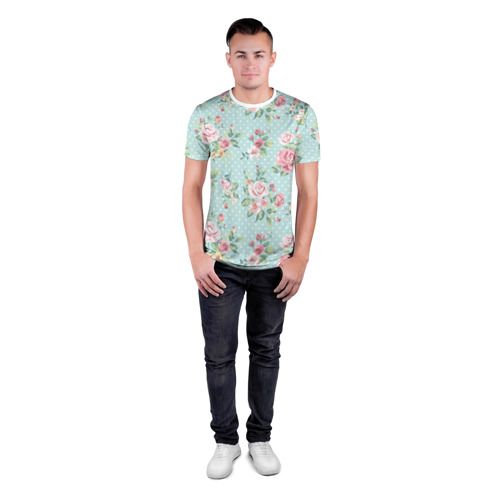 Мужская футболка 3D спортивная  Фото 04, Цветы ретро 1