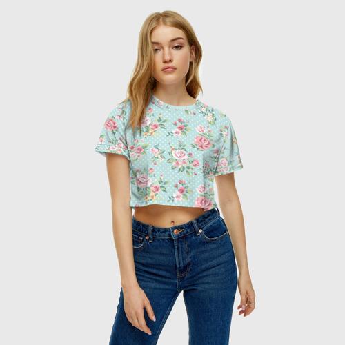 Женская футболка 3D укороченная  Фото 04, Цветы ретро 1