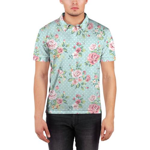 Мужская рубашка поло 3D  Фото 03, Цветы ретро 1