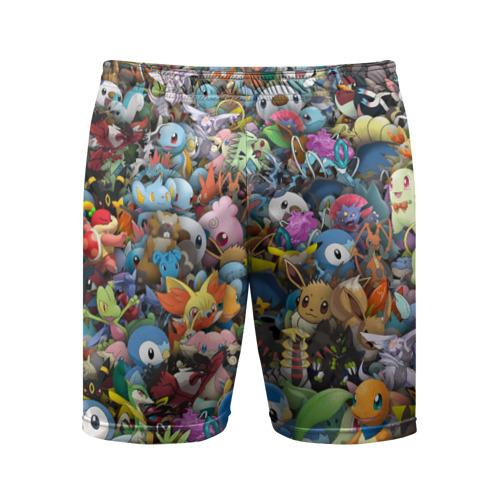 Мужские шорты 3D спортивные Покемоны. Стикербомбинг