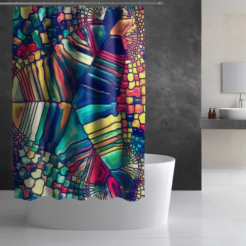 Штора 3D для ванной Block mosaic Фото 01