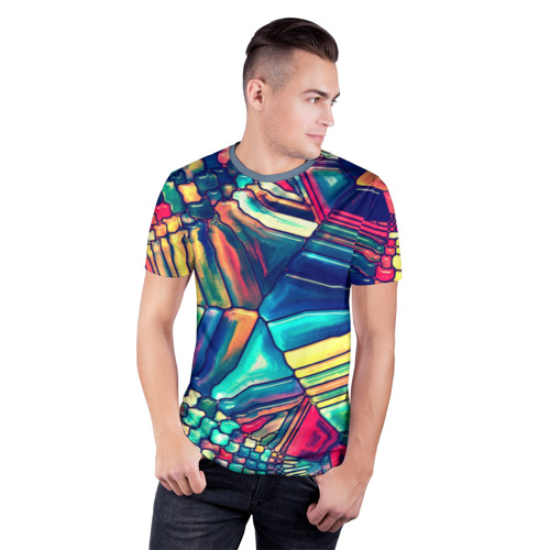 Мужская футболка 3D спортивная Block mosaic Фото 01