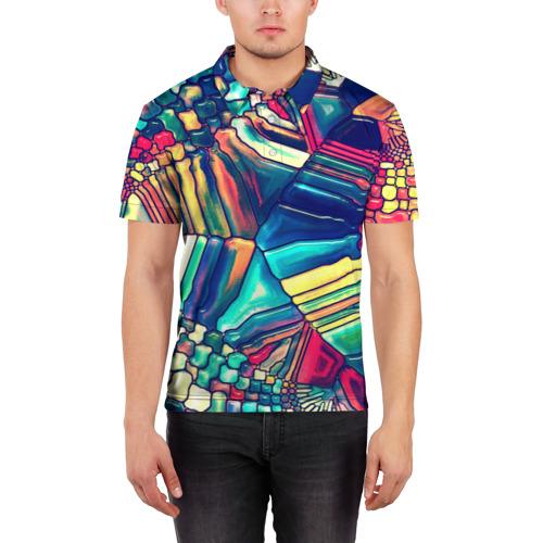 Мужская рубашка поло 3D  Фото 03, Block mosaic